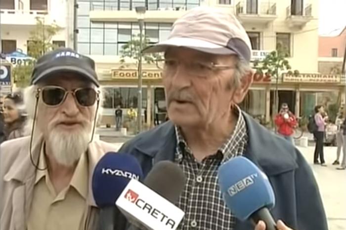 Ηλικιωμένος παρεμβαίνει σε συνέντευξη